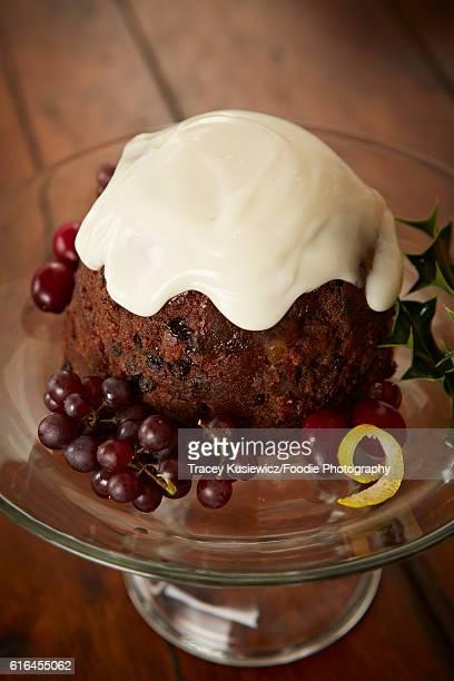 English plum pudding with custard sauce