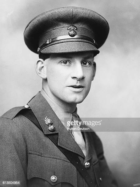 English poet and novelist Siegfried Sasson in military uniform. Sasson was famed for his bitter anti-war poems such as 'Counterattack' 1918 and...
