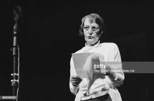 English poet and novelist Stevie Smith reading a poem at a Poetry Festival held at the Royal Court Theatre London UK July 15th to 20th 1963