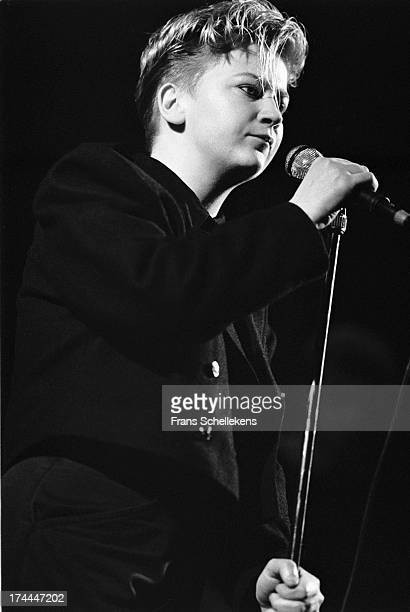 English poet and singer Anne Clark performs at Tivoli in Utrecht, Netherlands on 19th March 1989.