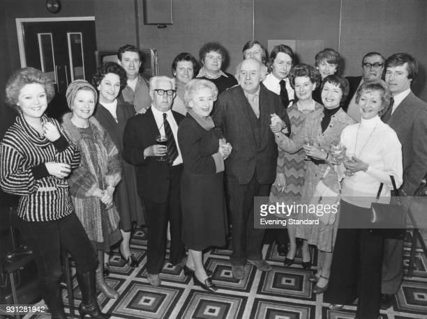 English Poet Laureate Sir John Betjeman meets the cast of British television soap opera 'Coronation Street' 1978 Among the cast are Bernard Youens...