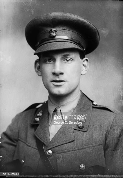 English poet, novelist and soldier, Siegfried Sassoon in military uniform, London, 1915.