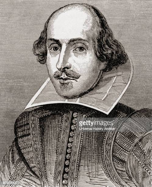 English poet playwright dramatist and actor After the engraving by Droeshout From The Works of William Shakespeare published 1896