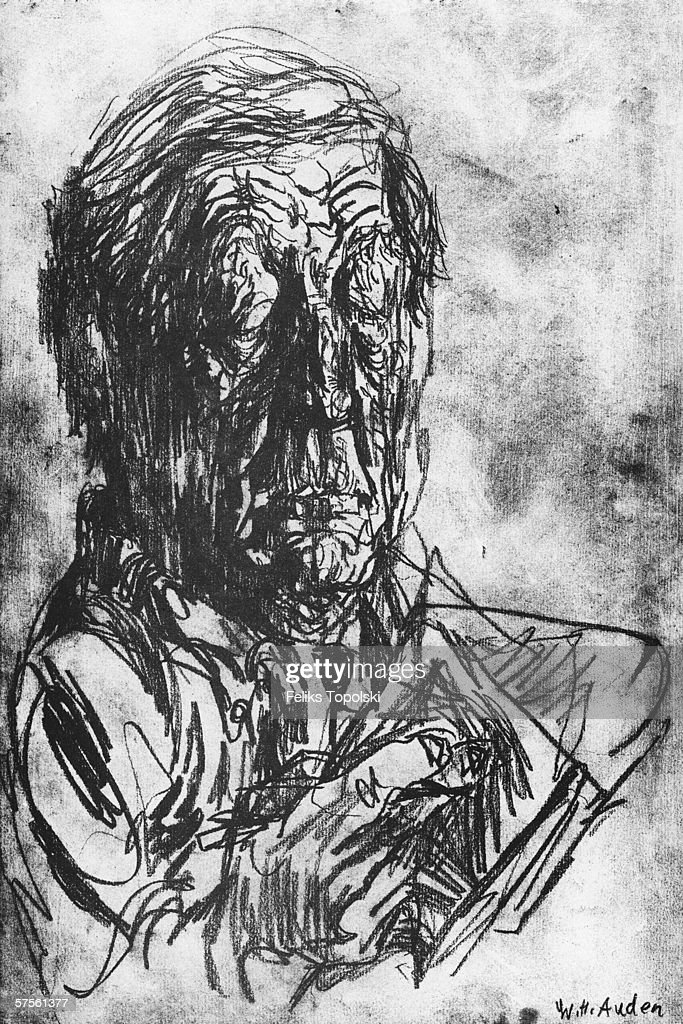 English poet Wystan Hugh Auden (1907 - 1973). A sketch by Polish-born British expressionist Feliks Topolski from Topolski's Chronicle Vol X, pub. 1962.