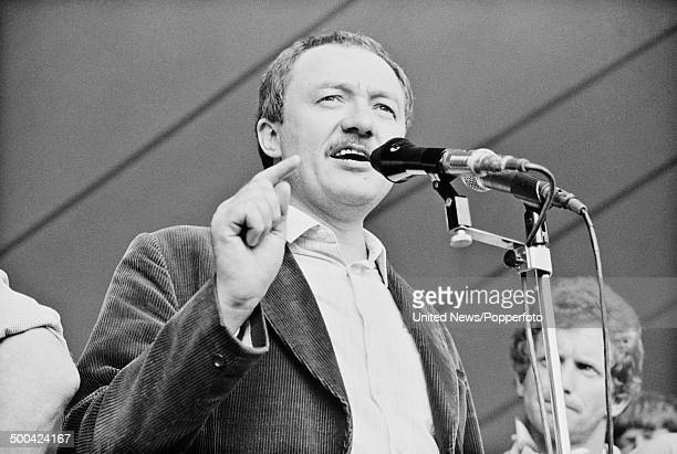 English politician and leader of the Grester London Council Ken Livingstone addresses a striking miners' demonstration in London on 26th June 1984