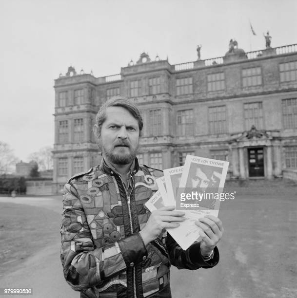 English politician artist and author Alexander Thynn 7th Marquess of Bath holding his manifesto for the General Election 15th February 1974