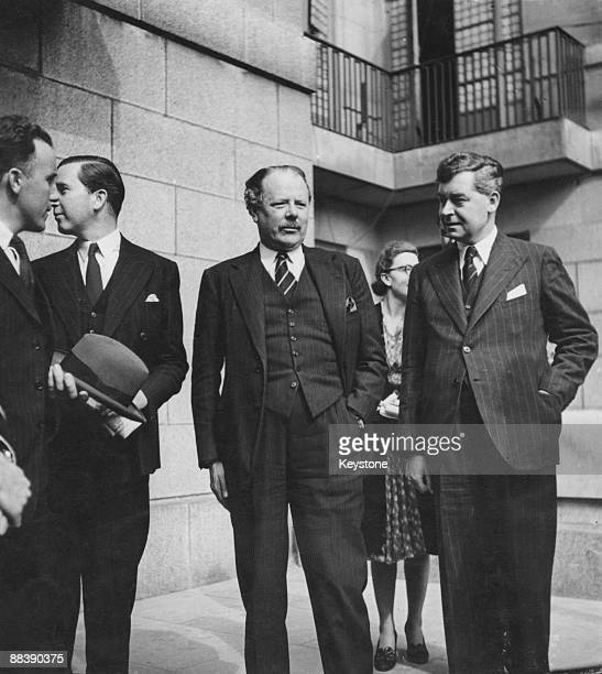 English politician, diplomat, author and critic Sir Harold Nicolson outside the Ministry of Information, London, with members of an Icelandic...