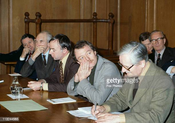 English politician Ken Livingstone Leader of the Greater London Council at a meeting January 1981