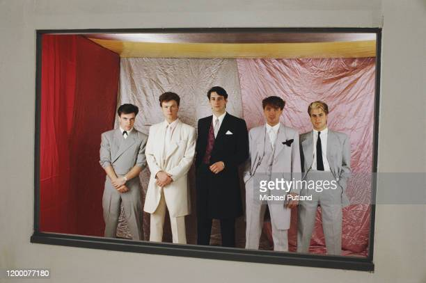 English pop and new romantic group Spandau Ballet posed together in May 1983. Members of the band are, from left, John Keeble, Gary Kemp, Tony...