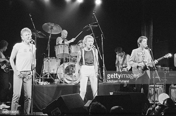 English pop and rock group The Hollies performing in New York October 1983 Left to right Steve Stroud Graham Nash Bobby Elliott Allan Clarke Alan...