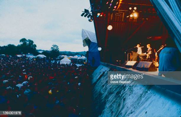 English Pop and Rock group the Style Council performs at the Glastonbury Festival, 6/22/1985.