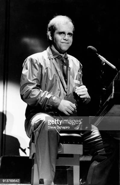 English Pop and Rock musician Elton John performs onstage at the Greek Theater Los Angeles California 1979