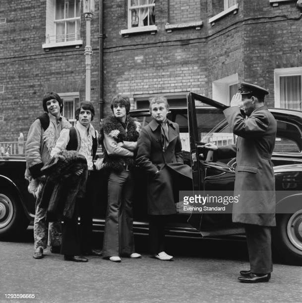 English pop and soul group Love Affair get into a chauffeur-driven car, UK, 6th February 1968. From left to right, they are keyboardist Lynton Guest,...