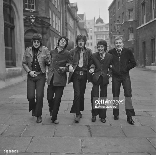 English pop and soul group Love Affair in London, UK, January 1968. From left to right, they are Maurice Bacon, Lynton Guest, Mick Jackson, Rex...
