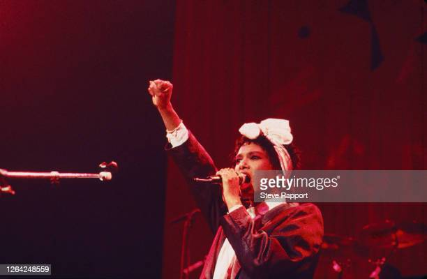 English Pop and Soul musician Dee C Lee of the group the Style Council Red Wedge Tour Manchester Apollo Manchester 1/25/1986 During the latter half...