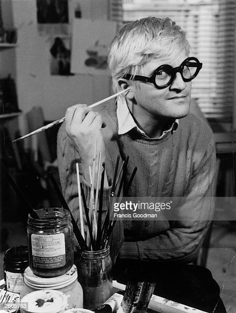 English pop artist printmaker stage designer and photographer David Hockney in his Bayswater studio just after Jonathan Cape published 72 of his...