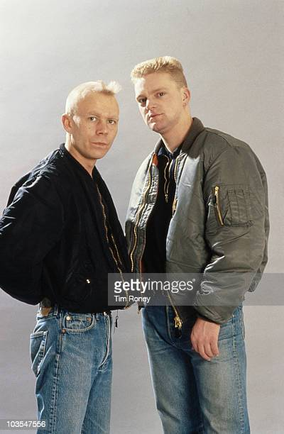 English pop duo Erasure circa 1990 They are keyboard player Vince Clarke and singer Andy Bell