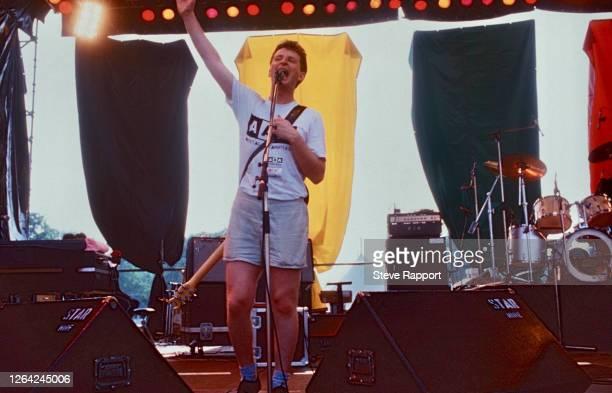 English Pop, Folk, and Alternative Rock musician Billy Bragg during the Artists Against Apartheid Freedom Festival, Clapham Common, London, 6/28/1986.
