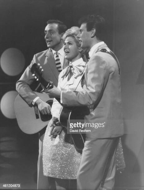 British folk trio The Springfields Mike Hurst Dusty Springfield and Tom Springfield performing circa 1962