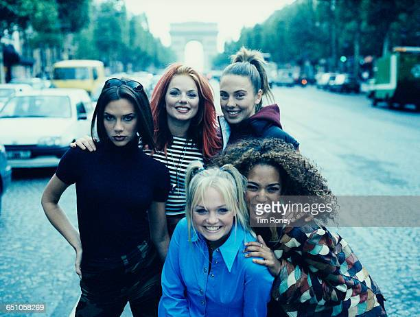 English pop girl group The Spice Girls in Paris September 1996 Clockwise from front Emma Bunton Victoria Beckham Geri Halliwell 'Ginger Spice'...