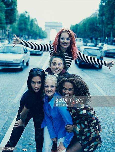 English pop girl group The Spice Girls in Paris, September 1996. Clockwise, from front: Emma Bunton , Victoria Beckham , Melanie Chisholm , Geri...