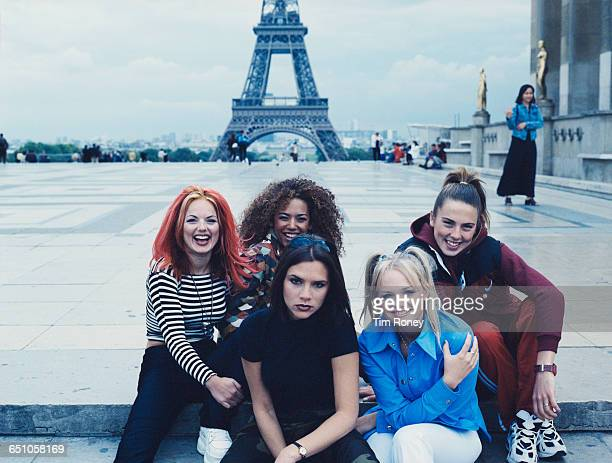English pop girl group The Spice Girls pose in front of the Eiffel Tower in Paris September 1996 Clockwise from left Geri Halliwell Melanie Brown...