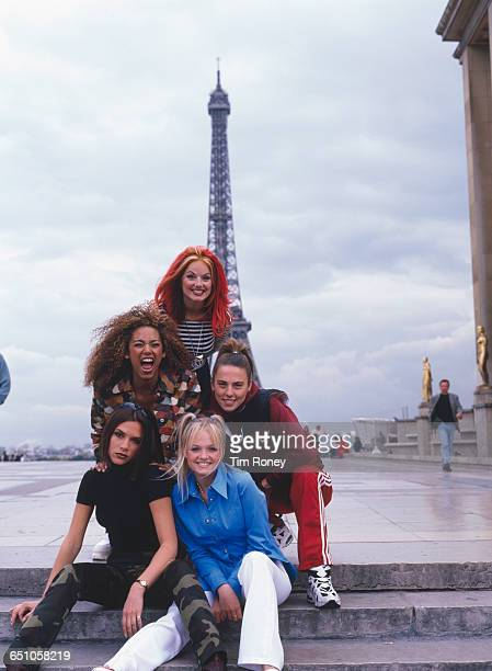 English pop girl group The Spice Girls pose in front of the Eiffel Tower in Paris September 1996 Clockwise from front Emma Bunton Victoria Beckham...