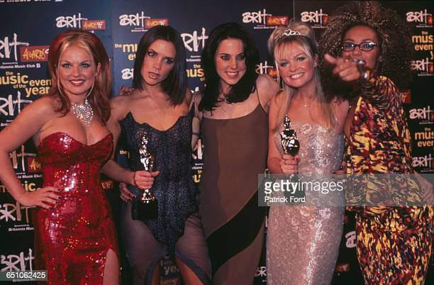 English pop girl group The Spice Girls with their awards at the 1997 Brit Awards held at Earls Court Exhibition Centre London 24th February 1997 The...