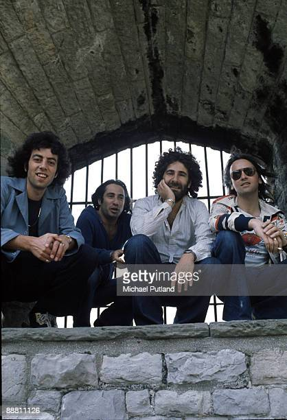 English pop group 10cc at Cardiff Castle for an open air concert at which they top the bill Cardiff Wales 12th July 1975 Left to right Graham...