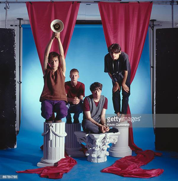English pop group Blur July 1991 From left to right singer Damon Albarn drummer Dave Rowntree guitarist Graham Coxon and bassist Alex James