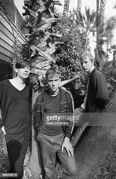 English pop group Blur Los Angeles California September 1994 Left to right bassist Alex James singer Damon Albarn guitarist Graham Coxon and drummer...