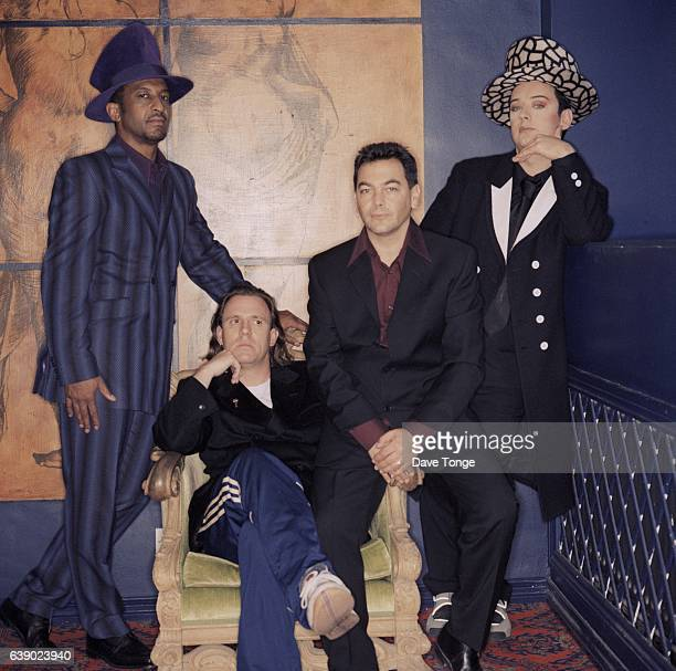 English pop group Culture Club London United Kingdom 1998 Left to right Mikey Craig Roy Hay Jon Moss and Boy George