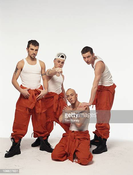 English pop group East 17 circa 1995 From left to right Terry Coldwell Brian Harvey John Hendy and Tony Mortimer