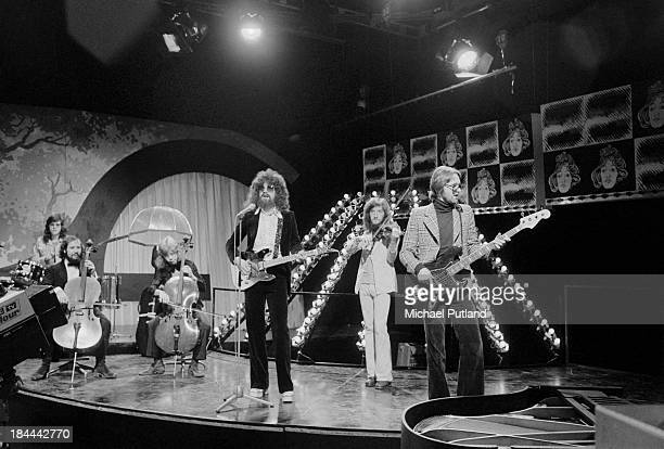 English pop group Electric Light Orchestra rehearsing for their appearance on the BBC TV music show 'Top Of The Pops', London, 11th October 1973. The...