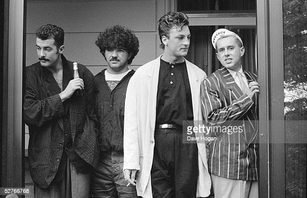 English pop group Frankie Goes To Hollywood circa 1984 Left to right Paul Rutherford Peter Gill Mark O'Toole and singer Holly Johnson
