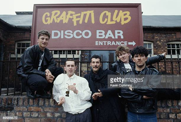 English pop group Frankie Goes To Hollywood outside the Graffiti Club on the set of the TV soap opera 'Coronation Street' Manchester 1984 Left to...
