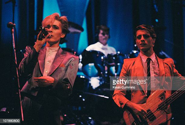English pop group Japan performing circa 1980 Left to right David Sylvian Steve Jansen and Mick Karn