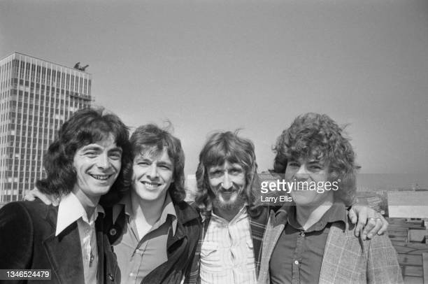 English pop group Paper Lace, UK, 2nd August 1974. From left to right, they are Carlo Santanna, Mick Vaughan, Phil Wright and Cliff Fish.