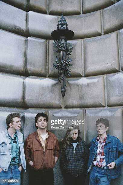 English pop group Prefab Sprout circa 1990 Left to right bassist Martin McAloon drummer Neil Conti singer and guitarist Wendy Smith and...