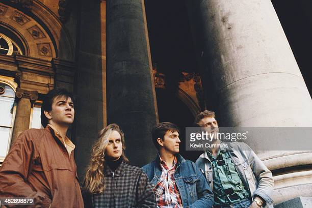 English pop group Prefab Sprout circa 1990 Left to right drummer Neil Conti singer and guitarist Wendy Smith singersongwriter Paddy McAloon and...