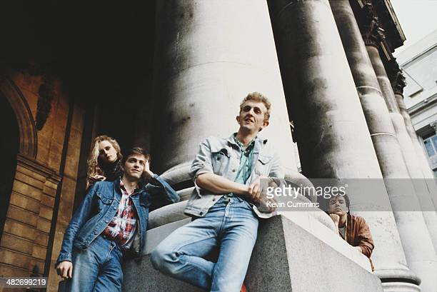 English pop group Prefab Sprout circa 1990 Left to right singer and guitarist Wendy Smith singersongwriter Paddy McAloon bassist Martin McAloon and...