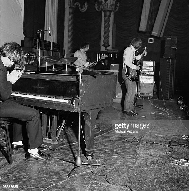English pop group Procul Harum performing at the Lyceum Theatre London in May 1970 with Gary Brooker at the piano and Robin Trower on guitar