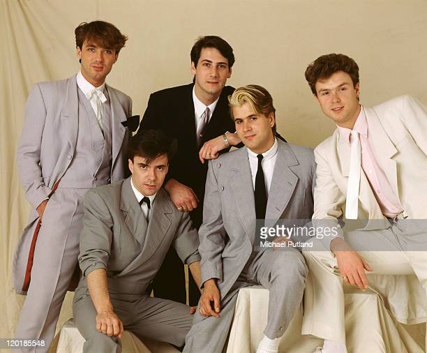 English pop group Spandau Ballet, circa 1985. Left to right: bassist Martin Kemp, drummer John Keeble, singer Tony Hadley, saxophonist Steve Norman...