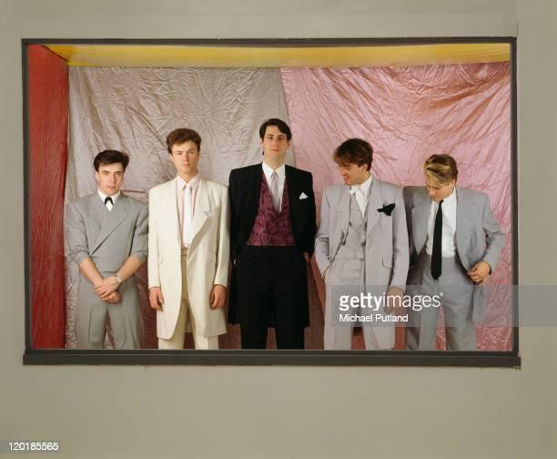English pop group Spandau Ballet circa 1985 Left to right drummer John Keeble guitarist Gary Kemp singer Tony Hadley bassist Martin Kemp and...