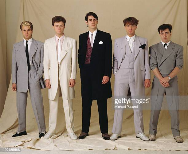 English pop group Spandau Ballet, circa 1985. Left to right: saxophonist Steve Norman, guitarist Gary Kemp, singer Tony Hadley, bassist Martin Kemp...