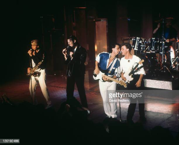 English pop group Spandau Ballet performing at the Montreaux Festival, Switzerland, 1984. Left to right: Steve Norman, Tony Hadley, Martin Kemp, Gary...