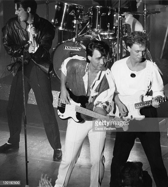 English pop group Spandau Ballet performing at the Montreaux Festival Switzerland 1984 Left to right Tony Hadley Martin Kemp and Gary Kemp