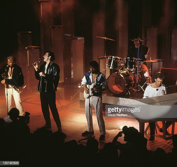 English pop group Spandau Ballet performing at the Montreaux Festival Switzerland 1984 Left to right Steve Norman Tony Hadley Martin Kemp John Keeble...