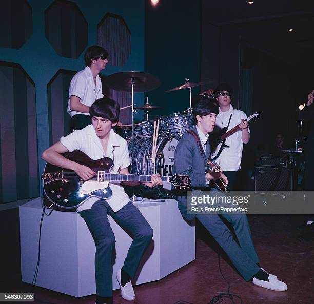 English pop group The Beatles rehearse before recording a performance for the Ed Sullivan Show at the Deauville Hotel in Miami Beach Florida on 16th...