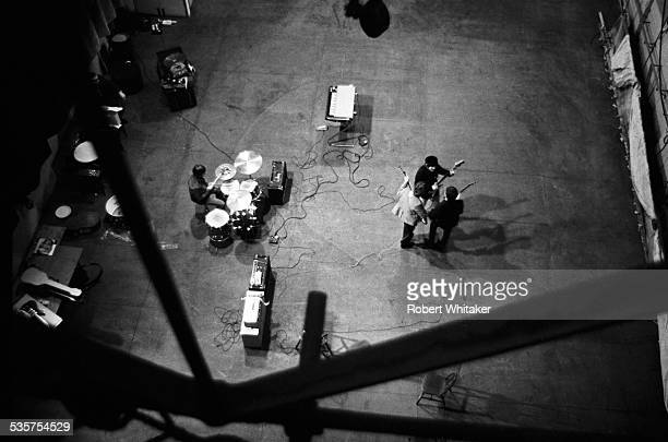 English pop group The Beatles Rehearsing at the Donmar Warehouse theatre London 1964 Left to right Ringo Starr George Harrison John Lennon and Paul...